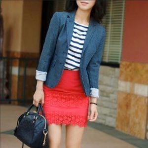 J. Crew Red Floral Lace Mini
